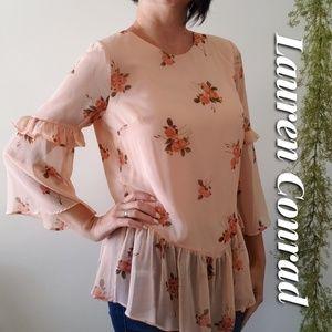Floral ruffle sleeve chiffon blouse
